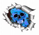 Ripped Torn Metal Design With Blue Flaming Skull Motif External Vinyl Car Sticker 105x130mm